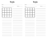 Boggle Answer sheet