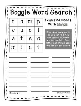 Word Work: Boggle Blends