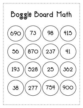Boggle Board Math Station