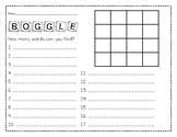 Boggle Board Response Sheet