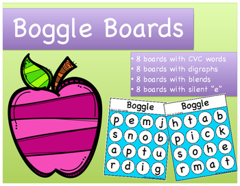 """Word Work: Boggle Boards (CVC words, digraphs, blends, and silent """"e"""")"""