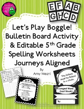Boggle Bulletin Board & 5th Gr Spelling 30 Activities Editable Journeys Aligned