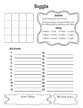 Boggle Bulletin Board Set and Student Work Page