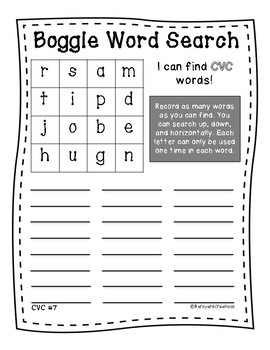 Word Work: Boggle CVC Words