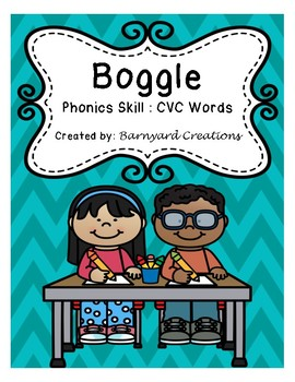 Word Work: Boggle Board Worksheets (CVC words)