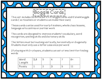 Boggle Cards