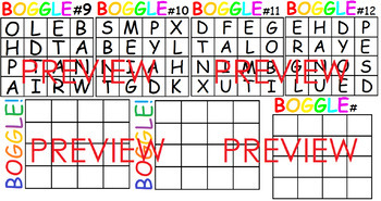 Boggle letters and Boggle Cards (Pre-made and Boggle card template) #ausbts18