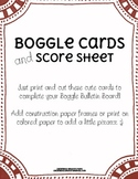 Boggle Cards and Score Sheet