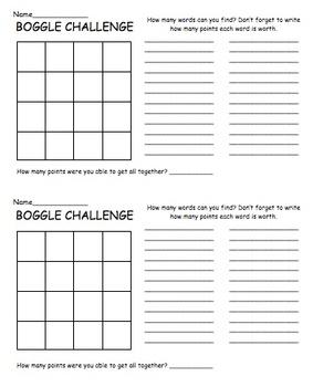 Boggle Challenge paper