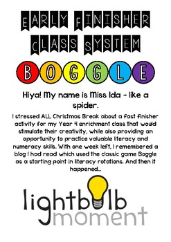 Boggle Fast Finisher, Literacy Activity, Numeracy Activity 3-6
