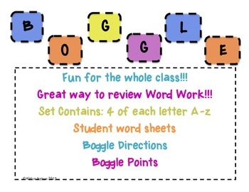 Boggle- GREAT for Word Work Center/Daily 5/ Writers Workshop