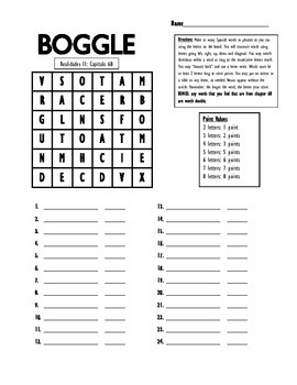 Boggle Game Realidades 2 6b Spanish Vocabulary movies