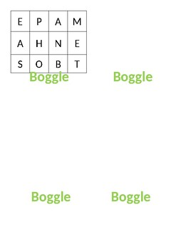 Boggle Game Task Cards Fast Finishers