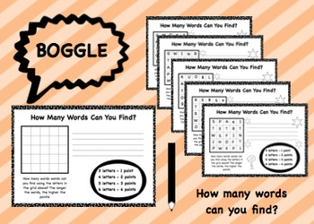 Boggle! How many words can you find? Worksheets