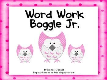 Boggle Jr. Word Work Form