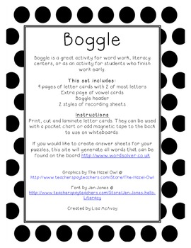 Boggle Letter Cards with Recording Sheets (Black & White Polka Dot)