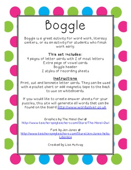 Boggle Letter Cards with Recording Sheets (Polka Dot)