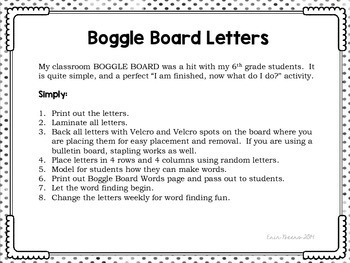 Boggle Board Letters for Classroom Word Work