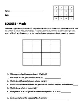 Boggle MATH worksheet