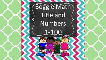 Boggle Math 1-100 - Center, Game, Activity, Math Common Core Alligned