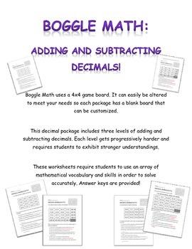 Boggle Math: Adding and Subtracting Decimals