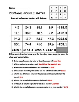 Boggle Math: Adding and Subtracting Decimals