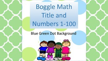Boggle Math Blue/Green Dots- Activities