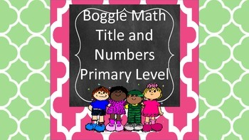 Boggle Math Primary - Center, Game, Activity, Math Common Core Aligned