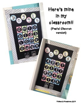 Boggle and Noggle Bulletin Board Set with Recording Sheets - Pastel Chevron