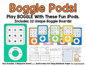 Boggle Pods!  32 Unique Boggle Boards on Fun iPods! Have Fun Making Words!
