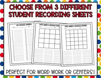 Boggle Polka Dot Chalkboard Packet - Bulletin Board Set - Literacy Center Work