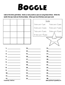 Boggle Printables by Emily Wolford | Teachers Pay Teachers
