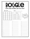 Boggle Recording Sheet