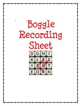 Boggle Recording Sheet for Word Work