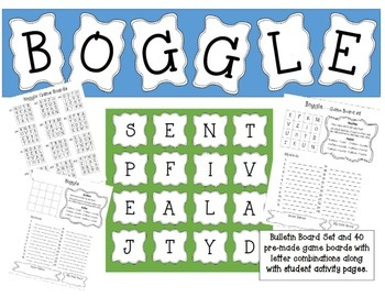 Boggle Set - Bulletin Board and 40 Game Board Pages