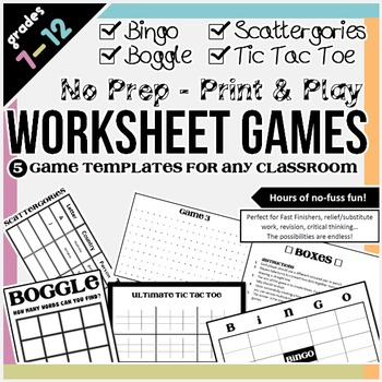 Worksheet Games