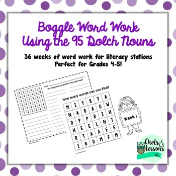 Boggle Word Work - 95 Dolch Nouns