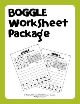 Boggle Worksheet Package (40 Weekly Worksheets with Manipulative Letters)