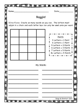Boggle! Worksheet and Bulletin Board