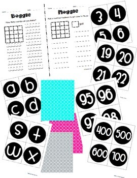 Boggle and Noggle Bulletin Board Set w/ Recording Sheets - Bright Quatrefoil