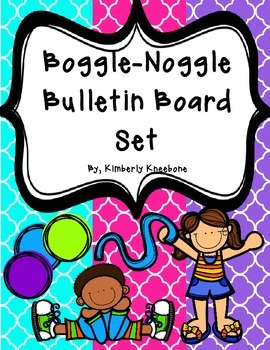 Boggle and Noggle Bulletin Board Set w/ Recording Sheets - Bright Quatrefoil 2