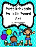 Boggle and Noggle Bulletin Board Set w/ Recording Sheets Bright Turq Quatrefoil