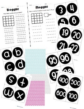 Boggle and Noggle Bulletin Board Set w/ Recording Sheets - Chevron