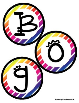 Boggle and Noggle Bulletin Board Set w/ Recording Sheets - Colorful Diag Stripes