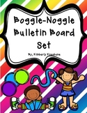 Boggle and Noggle Bulletin Board Set w/ Recording Sheets - Colorful Diag Stripes