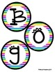 Boggle and Noggle Bulletin Board Set w/ Recording Sheets - Colorful Stripes