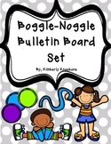 Boggle and Noggle Bulletin Board Set w/ Recording Sheets - Gray Polka Dots