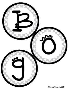 Boggle and Noggle Bulletin Board Set w/ Recording Sheets - Gray Polka Dots