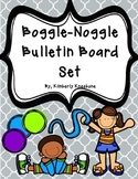 Boggle and Noggle Bulletin Board Set w/ Recording Sheets - Gray Quatrefoil