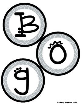 Boggle and Noggle Bulletin Board Set w/ Recording Sheets - Gray Quatrefoil